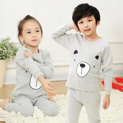 Kids Two-piece Pajama Set with Cartoon Pattern - Gray / 2-3 years