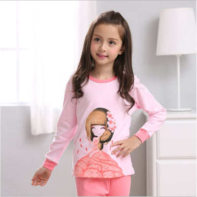 Kids Two-piece Pajama Set with Cartoon Pattern - Pink / 2-3 years