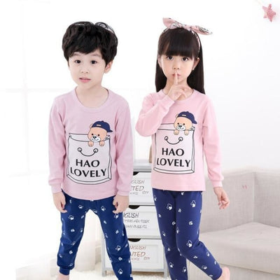 Kids Two-piece Pajama Set with Cartoon Pattern - Pink + Blue / 2-3 years