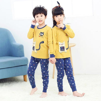 Kids Two-piece Pajama Set with Cartoon Pattern - Yellow + Blue / 2-3 years