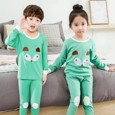 Kids Two-piece Pajama Set with Cartoon Pattern