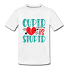 Kids Valentine T-shirt Cupid is Stupid - white
