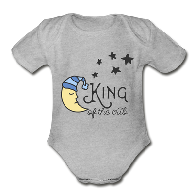 King of Crib Funny Baby Onesie Unisex - heather gray