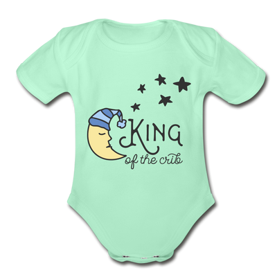 King of Crib Funny Baby Onesie Unisex - light mint