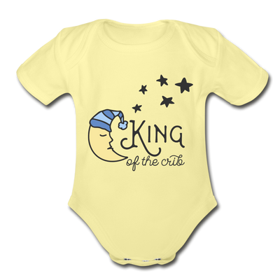 King of Crib Funny Baby Onesie Unisex - washed yellow