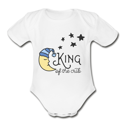 King of Crib Funny Baby Onesie Unisex - white