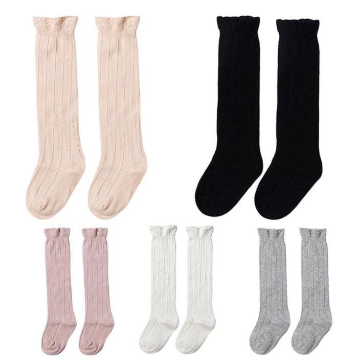Knee High Solid Cotton Tights Stockings for Baby Girls