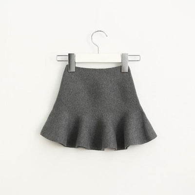 Knitted Winter Elastic Waist Tutu Skirts for Girls - Gray / 18-24 months