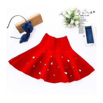 Knitted Winter Elastic Waist Tutu Skirts for Girls - red / 18-24 months