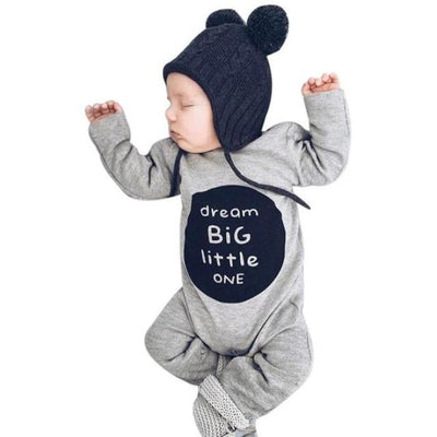 Letter Printed Cute Dress for Baby Unisex - Gray / 0-3 months / United States