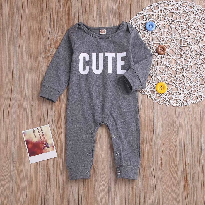 Letter Printed Romper for Babies Unisex
