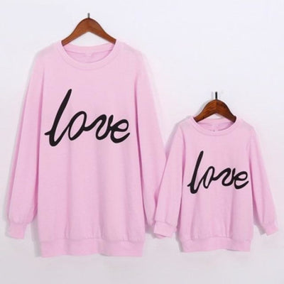 Letter Printed Sweatshirts for Family - Pink / Mom S