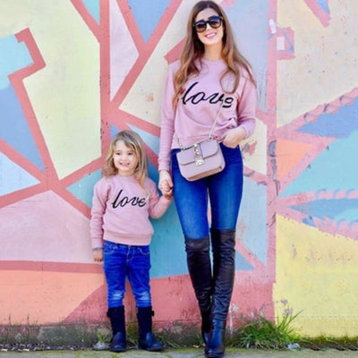Letter Printed Sweatshirts for Family