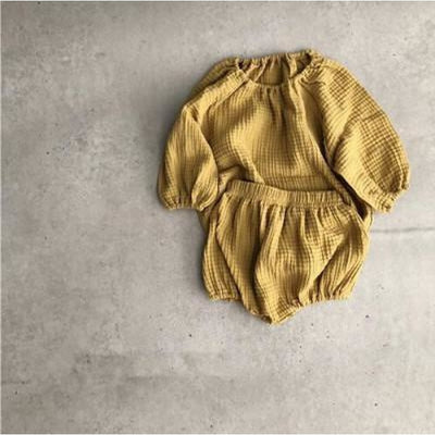 Linen Long Sleeves Girls Clothing Sets - Yellow / 9-12 months