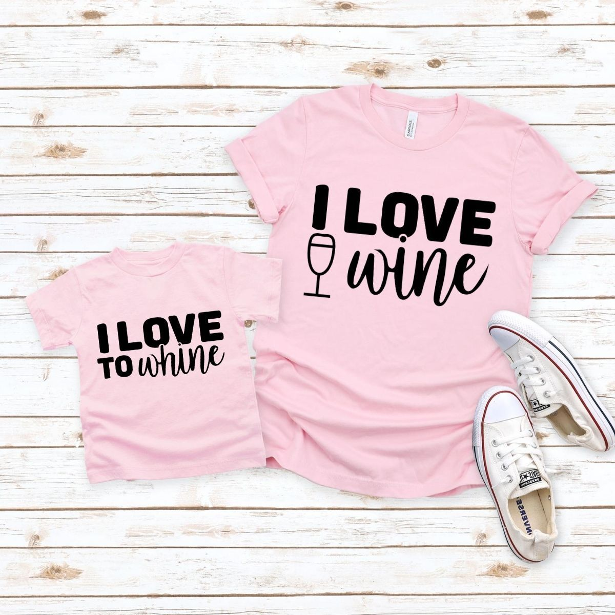 Love to Wine Whine Matching Shirts for Mom Daughter Son - 18-24 months Kid Shirt / Pink