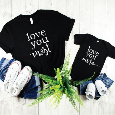 Love you More Most Matching Shirts Hoodies for Mom Kids - 18-24 months Kid Shirt / Black