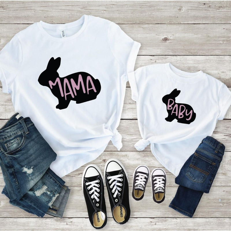 Lovely Baby Mama Bunny Matching Shirts Onesie for Mom Son Daughter - 18-24 months Kid Shirt / White