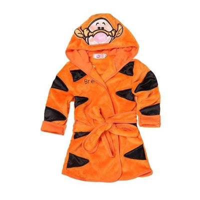 Lovely Cartoon Animal Hooded Long Sleeves Bathrobe for Boys Girls - Orange / 18-24 months