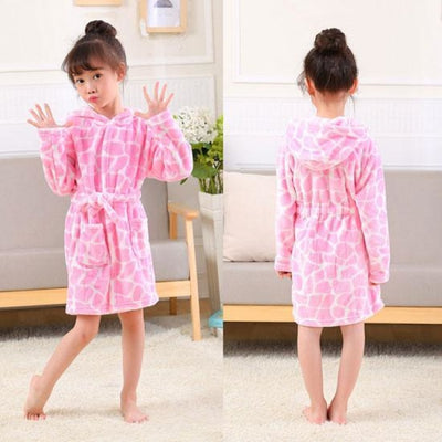 Lovely Cartoon Animal Hooded Long Sleeves Bathrobe for Boys Girls - Pink / 18-24 months