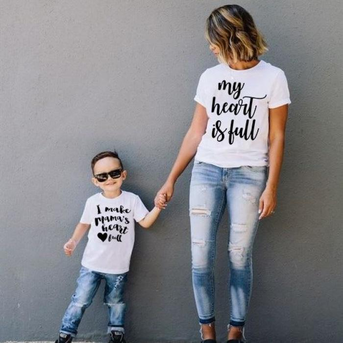 Lovely Mom and Son Matching Heart is Full T Shirt