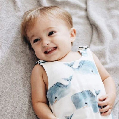 Lovely Whale Printed Romper for Babies Unisex