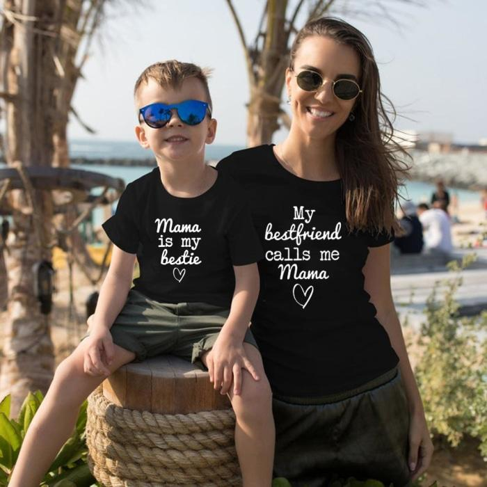 Mama Is My Bestie Matching T-shirts for Mother Daughter Son