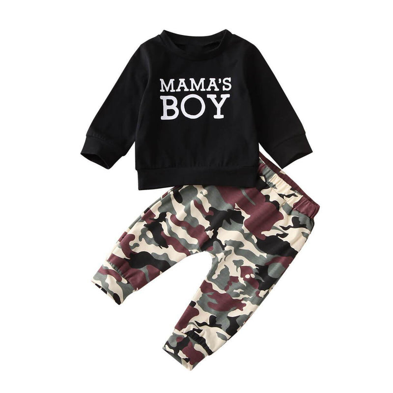 Mama's Boy printed Black Camo Pants Set