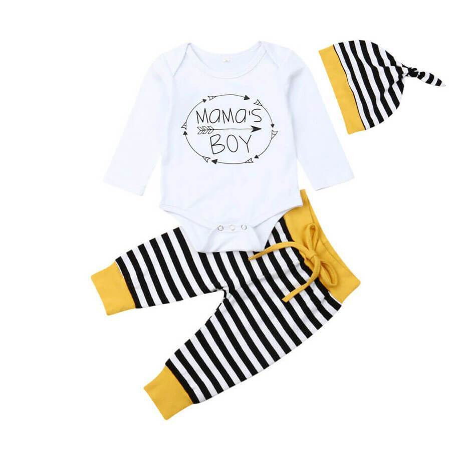 Mama's Boy Printed Striped 3 pc Set - 0-3 months
