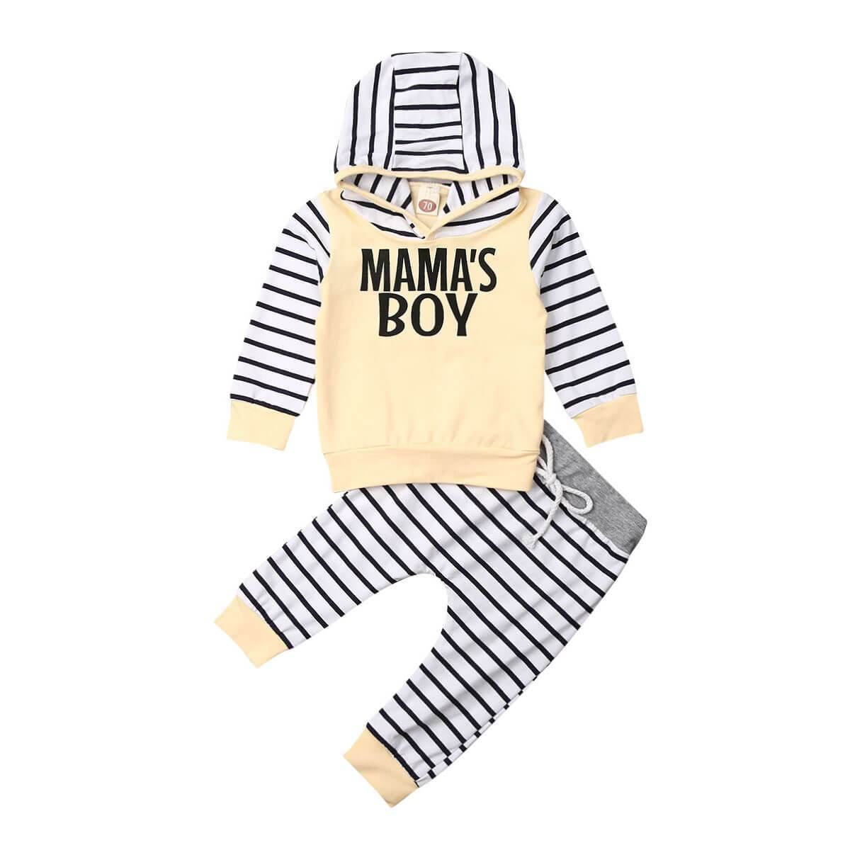 Mama's Boy Printed Striped Hoodie Set - 3-6 months