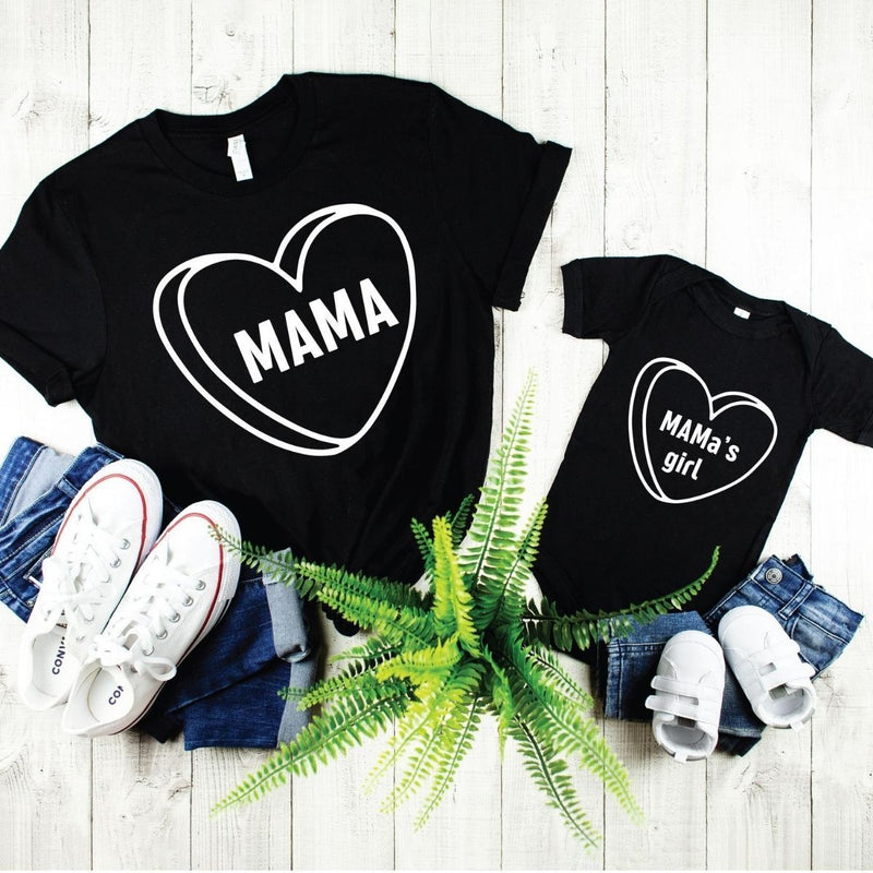 Mama's Girl Matching Shirts for Mom Daughter - 18-24 months Kid Shirt / Black