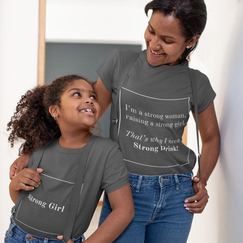 Matching Mommy & Me Strong Woman T-Shirt - black / Mom S