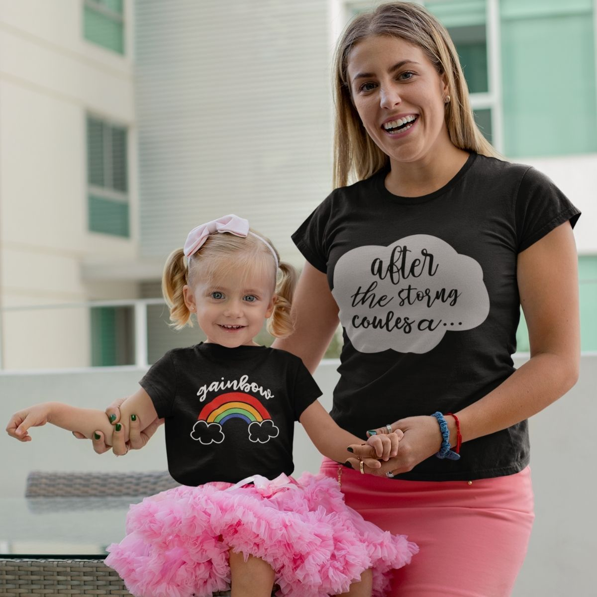 Matching mother daughter outfits rainbow storm - 18-24 months Kid Shirt / Black