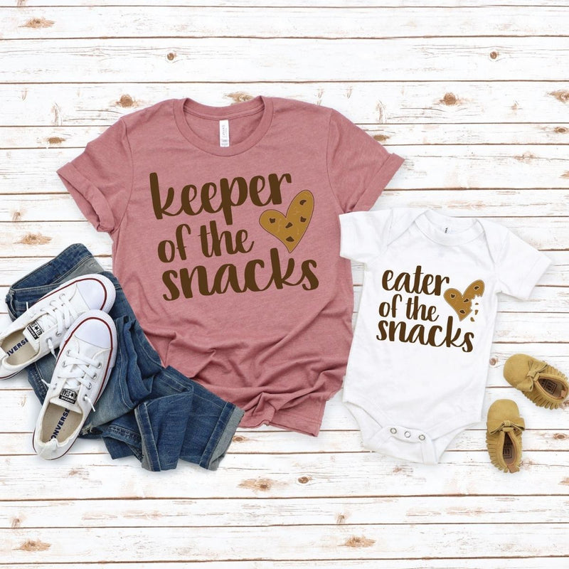 Matching Shirt Onesie Keep Snacks for Mom Toddler Son daughter - New Born Onesie / White
