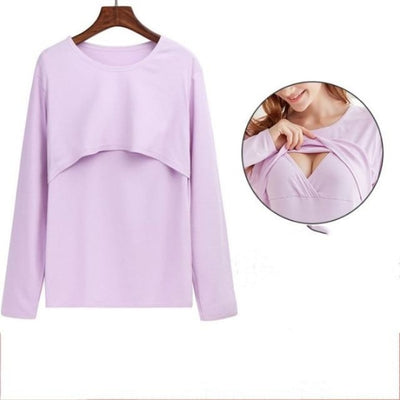 Maternity & Breastfeeding Undershirts with Long Sleeves - Pink 1 / XXL