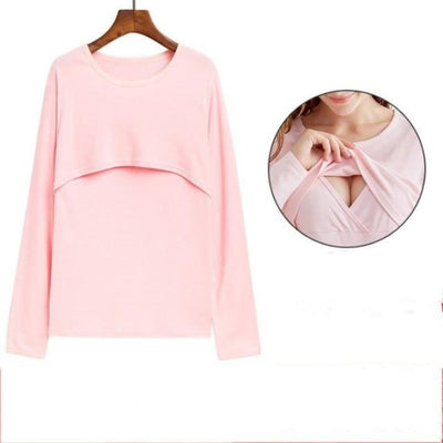 Maternity & Breastfeeding Undershirts with Long Sleeves - Pink 3 / XXL