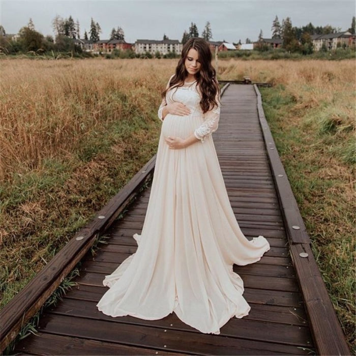 Maternity Chiffon Long Dress with Crochet Lace for Photography