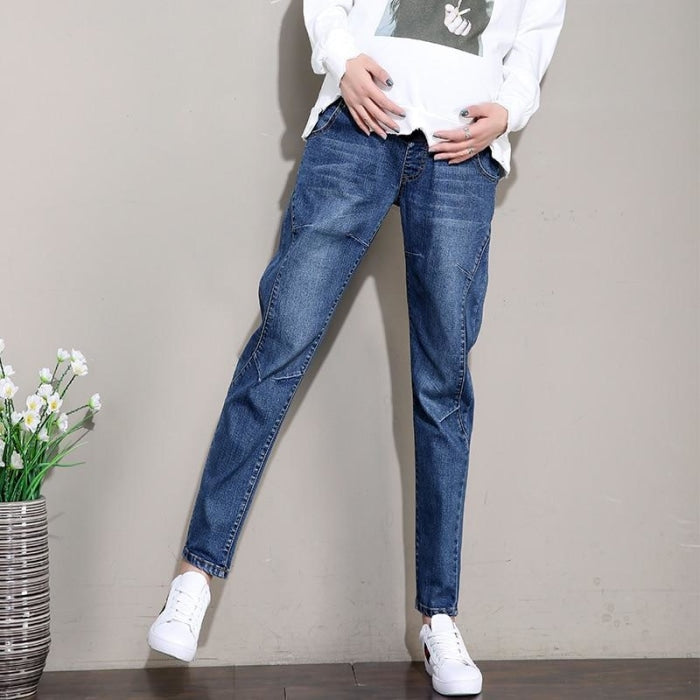 Maternity Cotton Denim Jeans Pants with Elastic Waist Belly