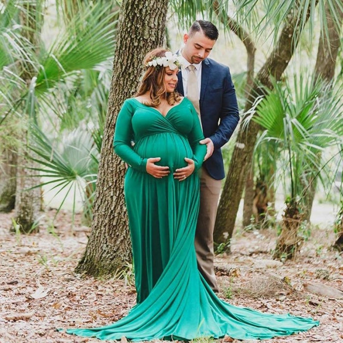 Maternity Maxi Dresses with Long Tail for Photo Shoot