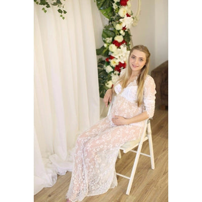 Maternity Maxi Gown with Fancy Lace for Fancy Photography