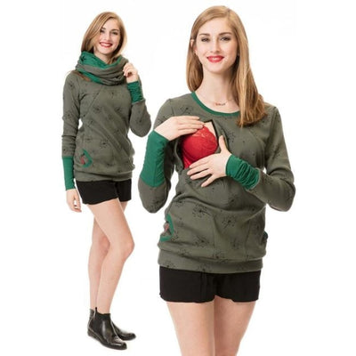 Maternity & Nursing Hooded T-Shirt Tops for Winter & Autumn - Army green / L