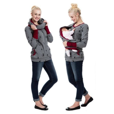 Maternity & Nursing Hooded T-Shirt Tops for Winter & Autumn - Dark grey bird / XL