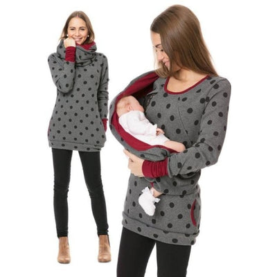 Maternity & Nursing Hooded T-Shirt Tops for Winter & Autumn - Dark grey dot / L