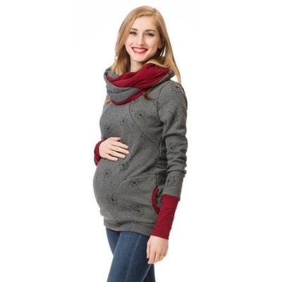 Maternity & Nursing Hooded T-Shirt Tops for Winter & Autumn - Dark grey flower / L
