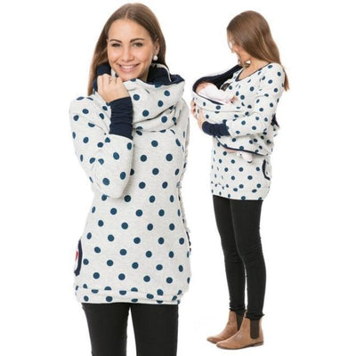 Maternity & Nursing Hooded T-Shirt Tops for Winter & Autumn - Light grey dot / XL