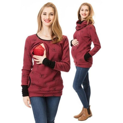 Maternity & Nursing Hooded T-Shirt Tops for Winter & Autumn - Wine red / L