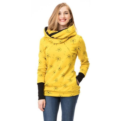 Maternity & Nursing Hooded T-Shirt Tops for Winter & Autumn - Yellow / L