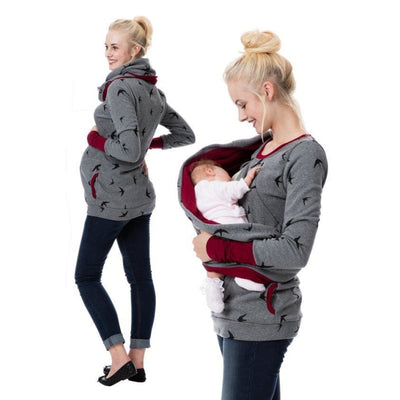 Maternity & Nursing Hooded T-Shirt Tops for Winter & Autumn