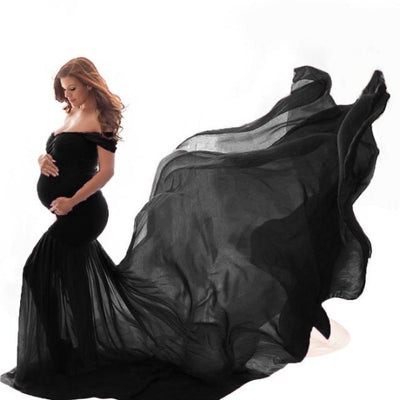 Maternity Off Shoulder Maxi Dresses for Photo Shoot - Black / Free Size