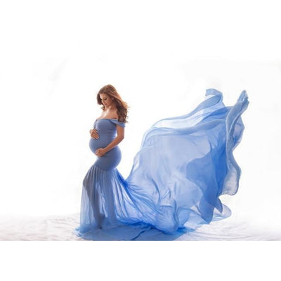 Maternity Off Shoulder Maxi Dresses for Photo Shoot - Blue / Free Size