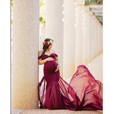 Maternity Off Shoulder Maxi Dresses for Photo Shoot - Wine red / Free Size